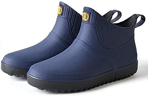 Unisex Zapatos de goma ligeros de pesca Botas de lluvia de pesca Resbaladizo impermeable para hombres y mujeres Ladies Wellibob Wellington Botas Ankle Chelsea Botines Zapatos de jardín-Azul oscur