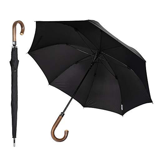 Sicherheitsschirm Paraguas de defensa propia defensa (gancho redondo, marrón, 105 cm)