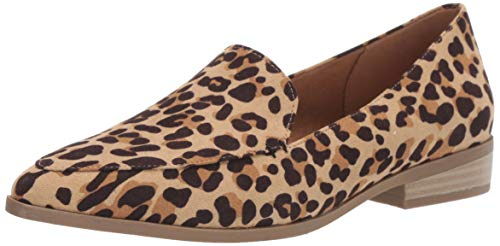 Dr. Scholl's Shoes Women's Astaire Loafer, Tan/Black Leopard Microfiber, 9.5 M US