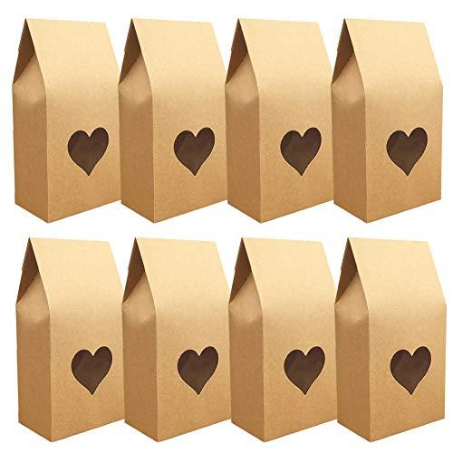 Bolsas de Papel Kraft, 24 Piezas Bolsas de Regalo Bolsas para Chuches Bolsa de Regalo de Fiesta de Cumpleaños de Papel Kraft, para Recuerdo,Golosinas, Galletas, Nueces, Chocolates