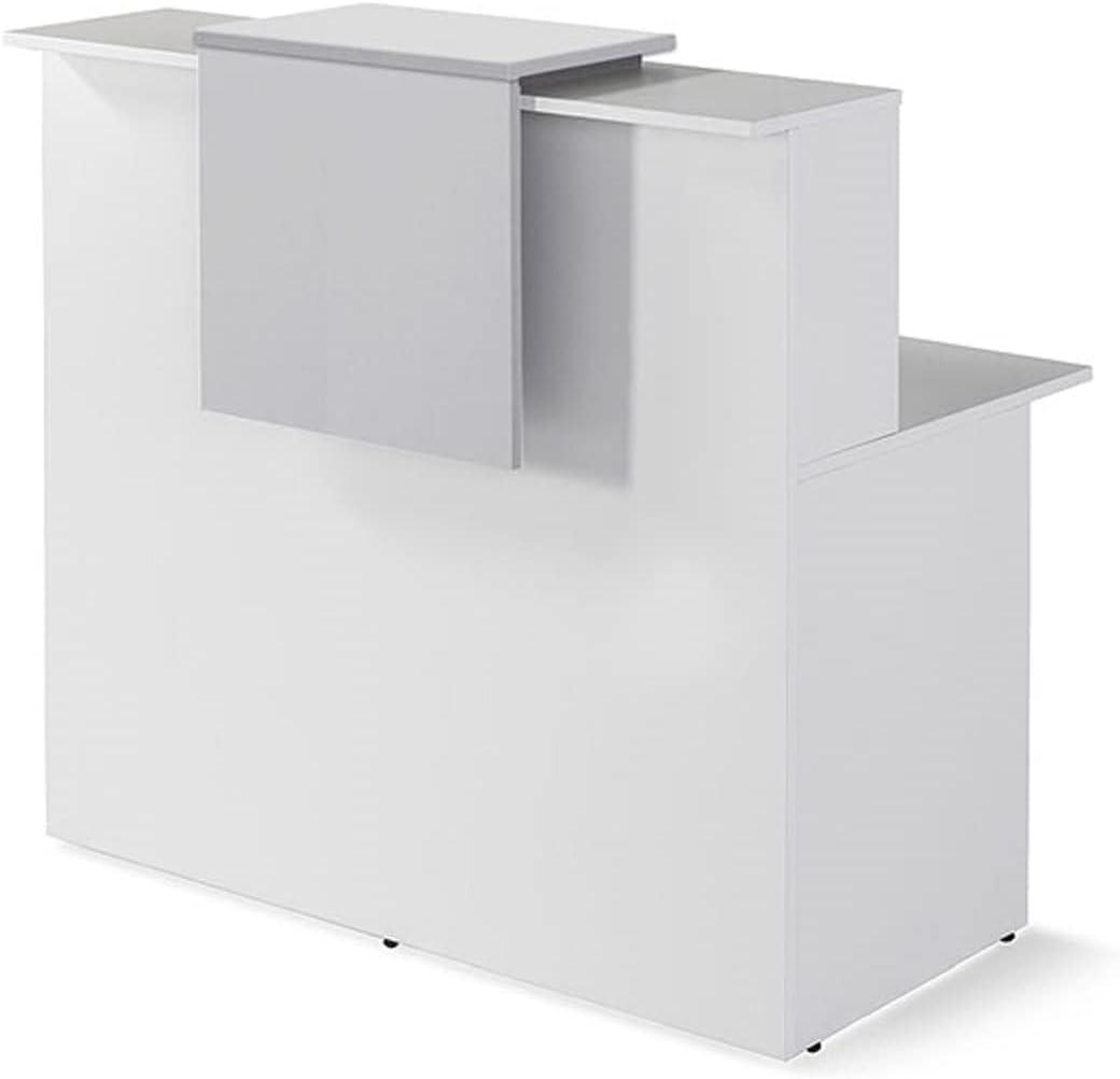 MOSTRADOR RECEPCIÓN Profesional, Color Blanco. Medidas de 100 cm. a 180 cm. Ancho X 115 cm. Alto X 74 cm. Hondo, Fabricado EN ESPAÑA. (Gris Claro, 140)