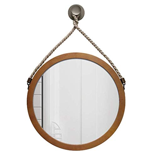 Ronda de la vendimia Baño marco de montaje en pared Espejo decorativo de madera acolchada sala de los espejos de estar Dormitorio Pasillo espejo del maquillaje de madera del color Conveniente for la d