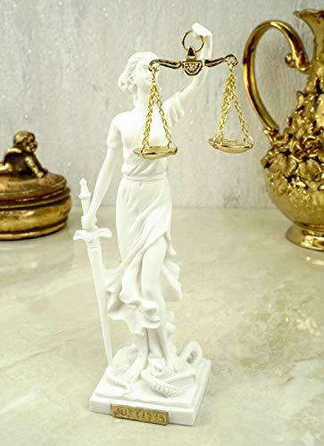 Alabaster Justitia Göttin Figur 17 cm Skulptur Themis BGB Recht Gerechtigkeit weiß