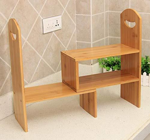 REGAL Bureau Petite étagère, Ordinateur Bambou Table étagère bibliothèque Bureau Table Petit étagère Rack Bureau télescopique étagère