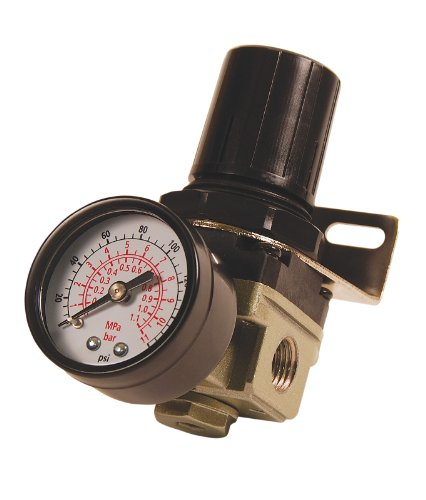 Primefit R1401G Mini Air Regulator with steel-Protected Gauge, 60-Scfm At 100-Psi, 1/4