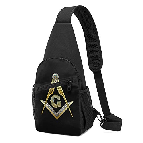 Master Mason Masonic Jewe Sling Backpack Crossbody Sling Bag for Men & Women, Fashion Chest Shoulder Daypack Casual Backpack for Outdoor Cycling Travel Hiking Gym