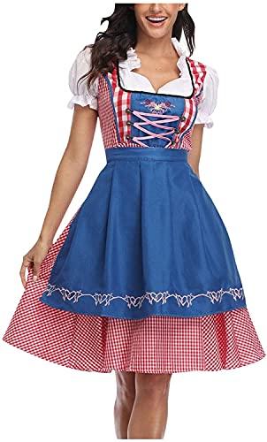 Disfraz de camarera para fiesta de cosplay, disfraz de mucama de Oktoberfest, vestido de camarera alemn, cerveza bvara, carnaval, Azul / Patchwork, XX-Large