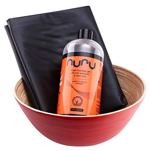 Nuru Massage Set für Body-2-Body Massagen, 3-teilig - Massage Bundle mit Massage-Gel, PVC-Bettlaken, Bamboo Bowl Bambusschale
