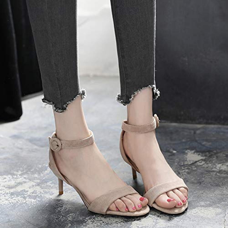 Yukun Schuhe mit hohen Absätzen Mode Wort Wort Wort Schnalle Stiletto 5 cm Sandalen weiblichen Sommer mit high Heels offene Spitze Schuhe  bc248d