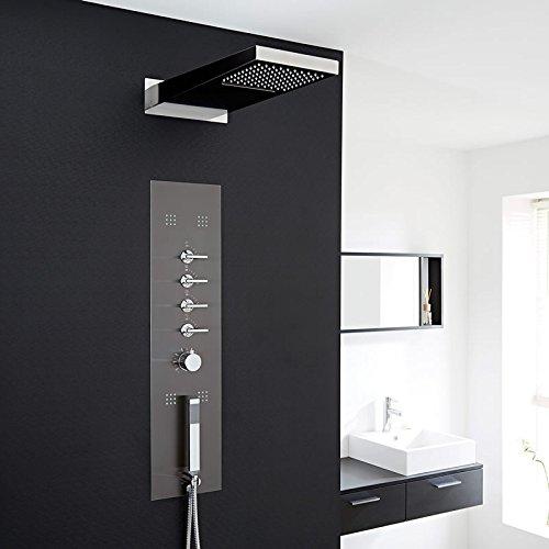 Hudson Reed Duschpaneel Unterputz - Thermostatische Duschsäule aus Edelstahl - Dunkelgrau - 900mm x 220mm x 2,4mm - Inkl. 4 Massagedüsen, Handbrause & Regendusche