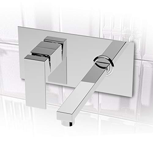 Grifo de pared para baño, montaje en pared, 2 orificios, grifo de lavado con caño cuadrado de cromo para lavabo, bañera, baño