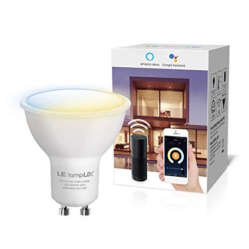 LE Alexa Lampadina LED GU10 Intelligente, Smart Lampadine WiFi Colore Luce Dimmerabile Bianco Caldo a Freddo (2700K - 6500K), Compatibile con Alexa e Google Home, Nessun Hub Richiesto, 4.5W (=50W)