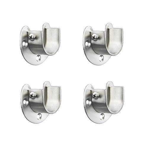 FYTRONDY Stainless Steel Wardrobe Closet Rod Bracket, U-Shaped Open Type Socket Bracket, Shower Curtain Rod Pole End Supports Sockets Flange (1 INCH, 4 Pack)
