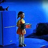 Surgewavelv Juego de Calamar Reloj Despertador Música Reloj Despertador Muñeca Femenina de Madera Reloj Despertador 123 Reloj de Madera Sonido de Terror Dormitorio Electrónico Hombre de Madera Alarma