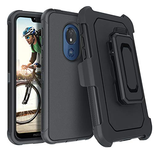 DUEDUE Moto G7 Power Case Military Grade Drop Protection Shockproof Heavy Duty Full Body Rugged Cover with Kickstand Belt Clip Holster Case for Moto G7 Power for Men Boys,Black