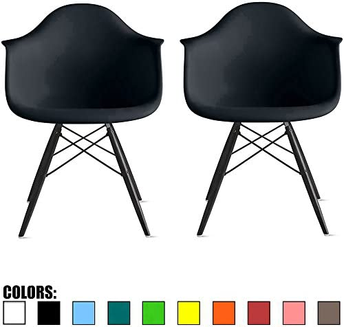 Best 2xhome Set of 2 Black Mid Century Modern Contemporary Industrial Office Chairs Dining No Wheels Livi