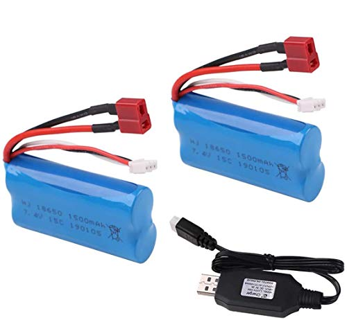 Crazepony-UK Lipo Battery 7.4V 1500mAh Universal Batteries for WLtoys 4WD Rc Cars 12403 12401 12402 12404 12428 Spare Part Replacement with Battery Charger