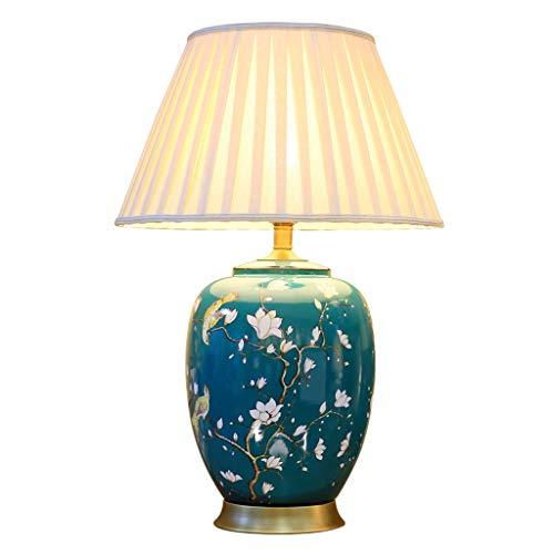 CJH Europäischen Stil Wohnzimmer Keramik Schreibtischlampe Studie Lampe Moderne Veranda Cabinet Display Blume Und Vogel Porzellan Flasche Tischlampe Lighting