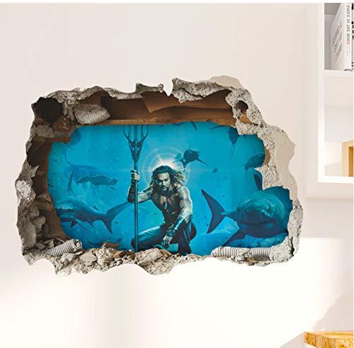 Aquaman Durchbruch 3D Lebendige Wandtattoos Schlafzimmer Wohnkultur Arthur Curry Wandaufkleber Diy Wallpaper Pvc Mural Art 50 * 70Vm
