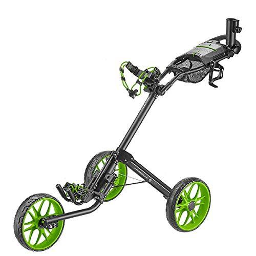CaddyTek 3 Wheel Golf Push Cart  Deluxe QuadFold Compact Push amp Pull Folding Caddy Trolley  Caddylite 153 V2