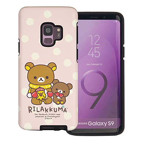 Galaxy S9 Case Rilakkuma Layered Hybrid [TPU + PC] Bumper Cover for [ Galaxy S9 (5.8inch) ] Case - Chairoikoguma Sit