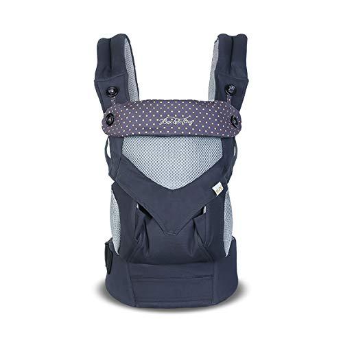 SONARIN 4 en 1 Transpirable Mochila portabebé,Malla Transpirable 3D,Capucha de Dormir,para recién nacidos y bebés(3-48 meses), carga máxima 20 kg,Múltiples posiciones,Marsupio portabebé(Azul Oscuro)