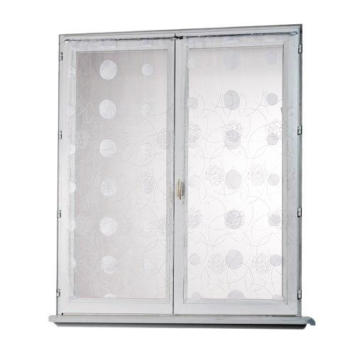 Homemaison HM69812818 - Visillo (Organza, 60 x 120 cm), diseño Recto con Bordados de Lunares, Color Blanco
