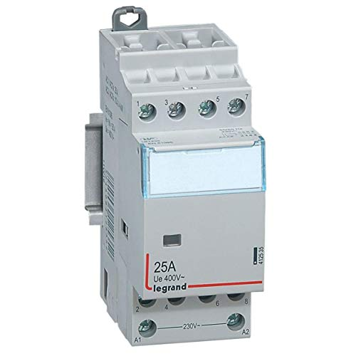Legrand 412535 Contacteur de puissance CX³ bobine 230V sans commande manuelle, 4P, 400V, 25A, contact 4F, 2 modules