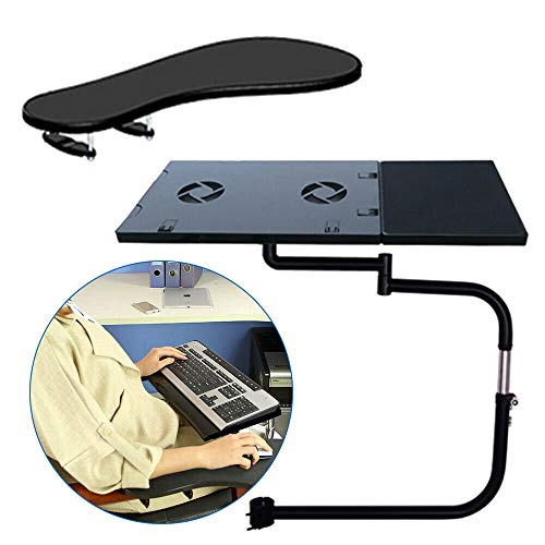 DYRABREST Laptop Mount,Chair Keyboard Tray,Adjustable Keyboard Mount for Chair,Installed to Chair or Any Round Bar with Maximum 1.96 inch Diagonal Thickness