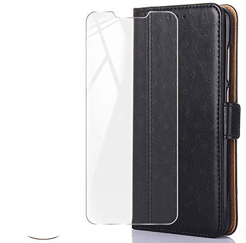 HYMY Hülle für ASUS Zenfone Live L2 ZA550KL - BookStyle + Schutzfolie PU Leder Flip mit Brieftasche Card Slot Handyhülle Hülle Lederhülle für ASUS Zenfone Live L2 ZA550KL - Black