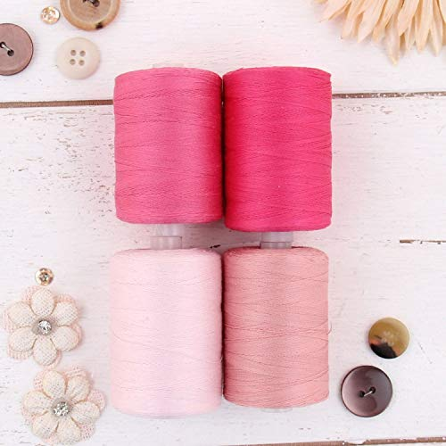 Find Cheap Threadart 100% Cotton Thread Set |4 Pink Tones | 1000M (1100 Yards) Spools | For Quilting...