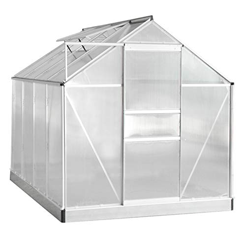 Aoxun Polycarbonate Walk-in Garden Greenhouse with Adjustable Roof Vent and Rain Gutter for Plants, Stable Green House for Flowers Outdoor for Winter,8 x 6 FT