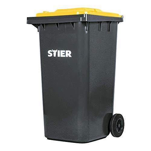STIER 2-Rad-Müllgroßbehälter 240 l grau/gelb BxTxH 576x720x1067 mm