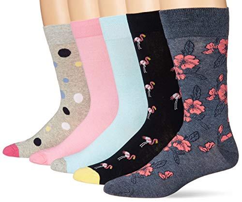 Goodthreads 5-Pack Patterned Socks Calcetines, Paquete de Flores de Flamenco Rosa, Talla única, Pack de 5