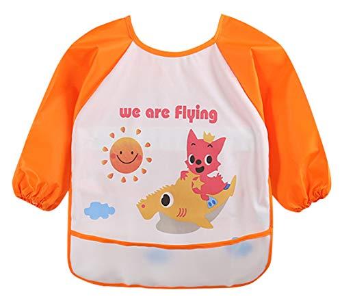 DEMU slabbetjes met mouwen baby mouwkatjes waterdicht met opvangbescherming schort Large oranje