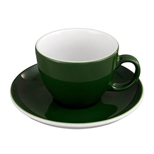Seltmann Weiden VIP. Cappuccinotasse mit Untertasse (1131), 2-tlg., Kaffeetasse, Teetasse, Tasse, Porzellan, Grün, 220 ml, Ø 15 cm, 1259639