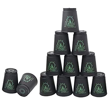 12 Pack Sports Stacking Cups Quick Stack Cups Set Speed Training Game for Travel Party Challenge Competition Black