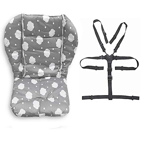 Twoworld Baby High Chair Seat Cushion Liner Mat Pad Cover Resistant and High Chair Straps (5 Point Harness) 1 Suit (Gray Clouds)
