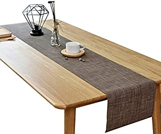 McIvan Table Runner 12x72 Inch Durable Washable for Kitchen Dining Tea Table Eco-Friendly Heat Insulation PVC Vinyl Weave(Brown)