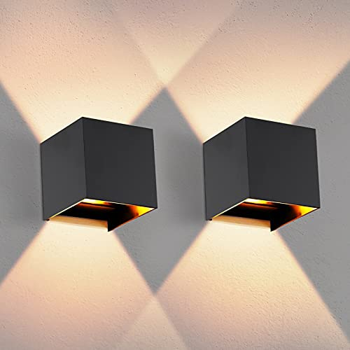 OOWOLF 2PCS Moderna Apliques Pared LED Exterior Blanco Cálido G9, Lampara De Pared Bombillas LED Reemplazables Iluminación Decorativa Impermeable IP65 De Exterior y De Interior