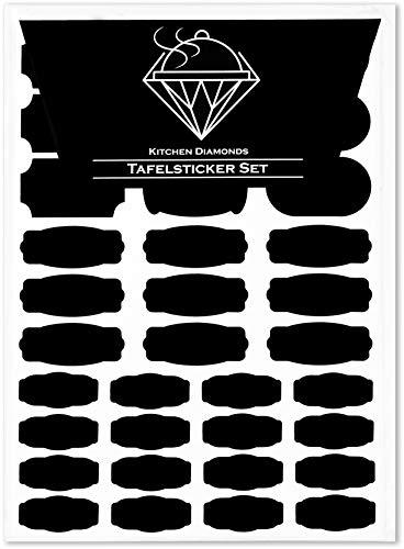 Kitchen Diamonds Premium Tafelsticker-Set – 136 Selbstklebende Küchen-Etiketten-Aufkleber in diversen Formen und Größen