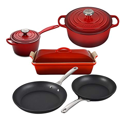 Le Creuset 8 Piece Multi-Purpose Enameled Cast Iron with SS Knobs, Stoneware, and Toughened Nonstick PRO Fry Pan Complete Cookware Set - Cerise
