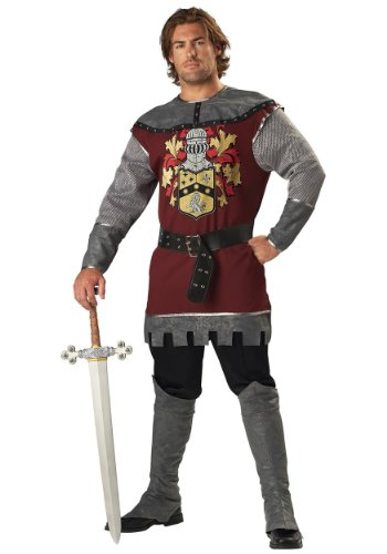InCharacter Costumes Men's Noble Knight Costume, Silver/Burgundy, Large