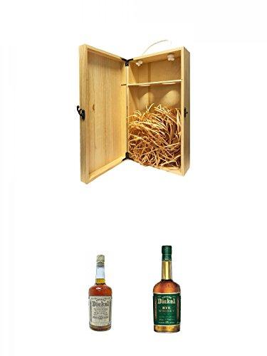 1a Whisky Holzbox für 2 Flaschen mit Hakenverschluss + George Dickel No. 12 Yellow Label Bourbon Whiskey 1,0 Liter + George Dickel Rye (Green Label) 1,0 Liter