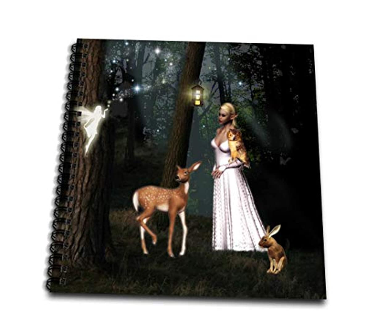 3dRose db_24753_2 Beautiful Elf with Fairy Deer Owl and Rabbit in Forest-Memory Book, 12 by 12