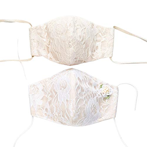 Lace Face Mask for Rustic Wedding - Ties or Elastic - White or Off White Over Natural Cotton - Optional Flower