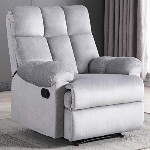 Bonzy Home Recliner Chair - Heavy Duty Manual Overstuffed Fabric Recliner - Home Theater Seating - Bedroom & Living Room Chair Waterproof Surface Recliner Sofa (Light Gray)