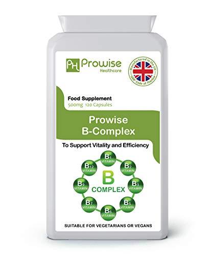 Complejo de vitamina B - 120 cápsulas - Reino Unido Fabricado con GMP Calidad garantizada - Adecuado para vegetarianos y veganos Por Prowise Healthcare