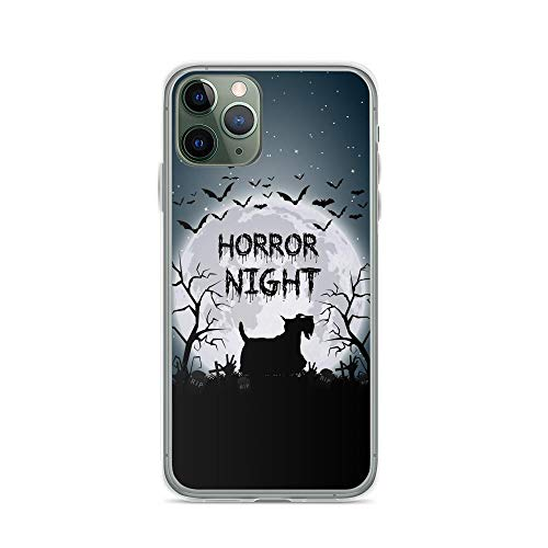 Compatible for iPhone 11 Pro Max Case Mysterious Moon Night Scottie Dog Silhouette TPU Anti-Scratch