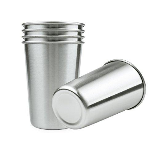 Lifestan Vasos de pinta de acero inoxidable para cerveza, agua, café, té, paquete de 5, 473 ml, vasos de metal de una sola pared sin plomo, apilables, duraderos, para campamento al aire libre
